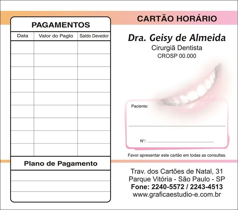 Carteirinha de Próxima Consulta e Pagamento Personalizado - Cod: 002