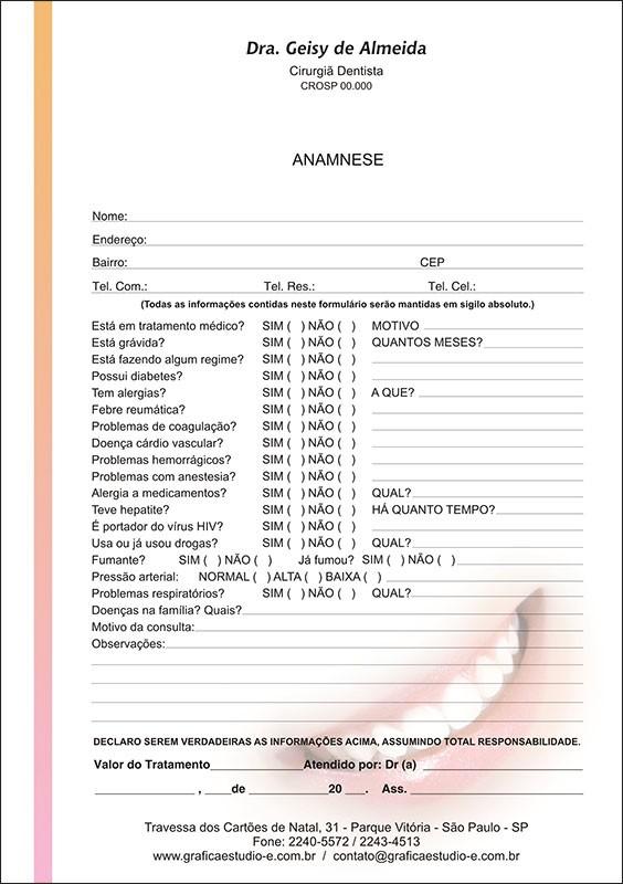 Anamnese Colorida - Cod: 002