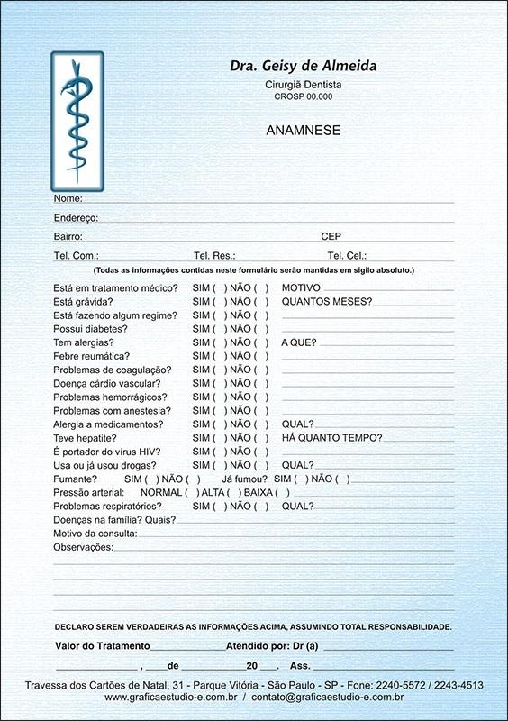 Anamnese Colorida - Cod: 003