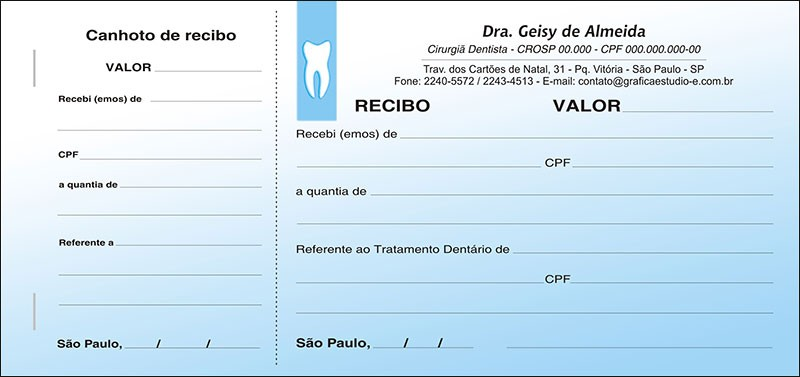 Recibo com Canhoto Colorido - Cod: 004 Azul SB