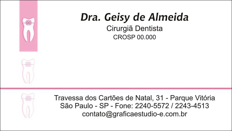 Cartão de Visita com Verniz - Cod: 004 Rosa CB