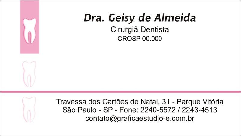 Cartão de Visita com Verniz - Cod: 004 Rosa SB