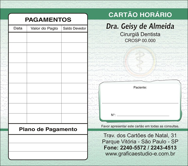 Carteirinha de Próxima Consulta e Pagamento Personalizado - Cod: 005
