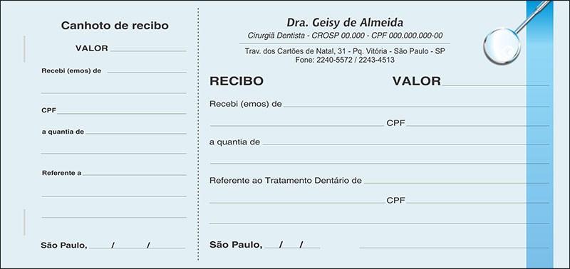 Recibo com Canhoto Colorido - Cod: 006
