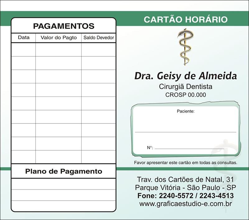 Carteirinha de Próxima Consulta e Pagamento Personalizado - Cod: 007