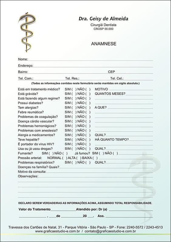 Anamnese Colorida - Cod: 007