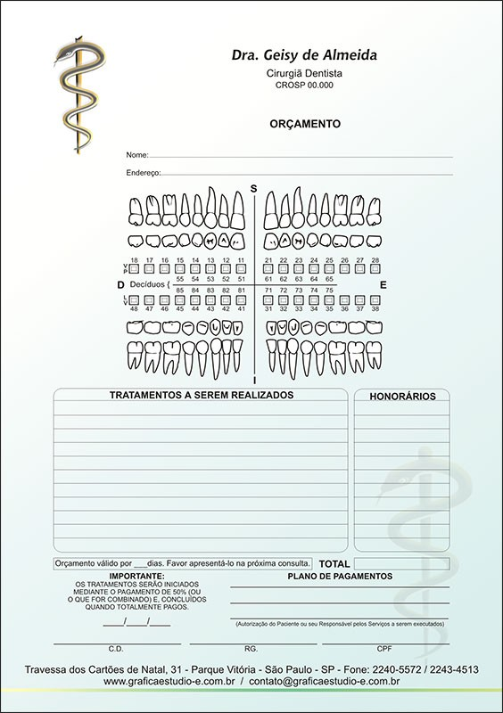 Orçamento Colorido - Modelo A - Cod: 007