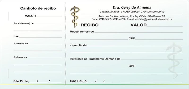 Recibo com Canhoto Colorido - Cod: 007