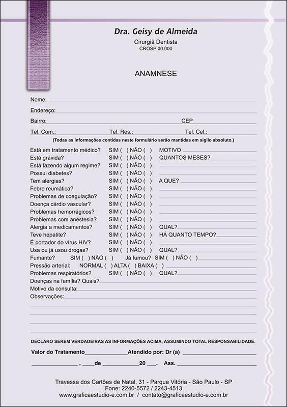 Anamnese Colorida - Cod: 010