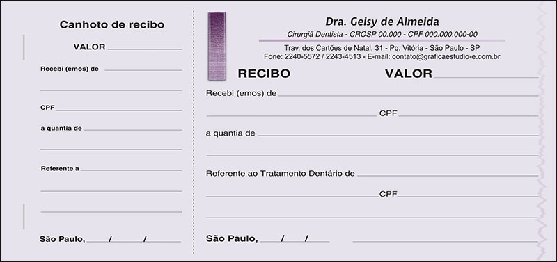 Recibo com Canhoto Colorido - Cod: 010