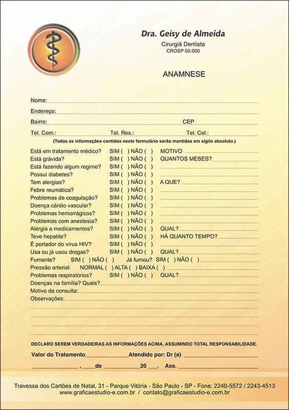 Anamnese Colorida - Cod: 011