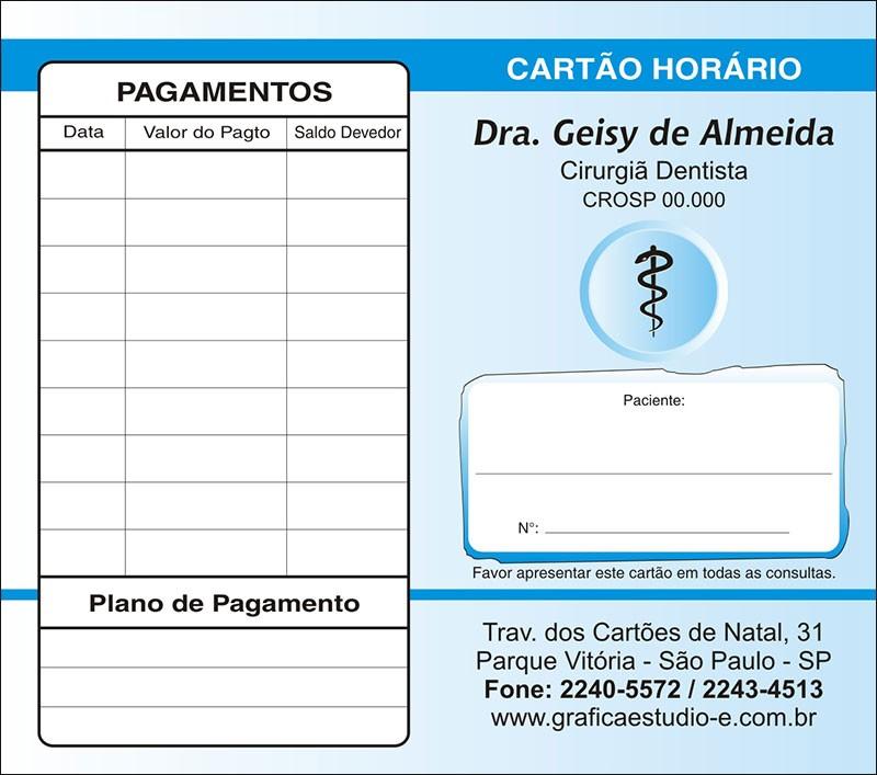 Carteirinha de Próxima Consulta e Pagamento Personalizado - Cod: 015 Azul