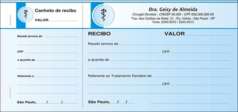Recibo com Canhoto Colorido - Cod: 015 Azul