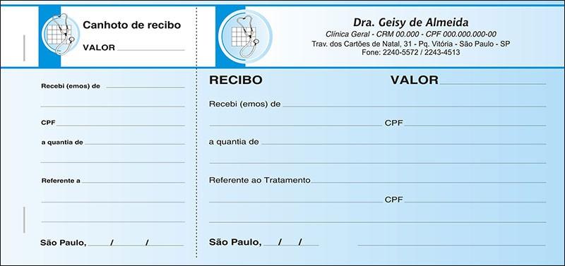 Recibo Médico com Canhoto Colorido - Cod: M015 Azul