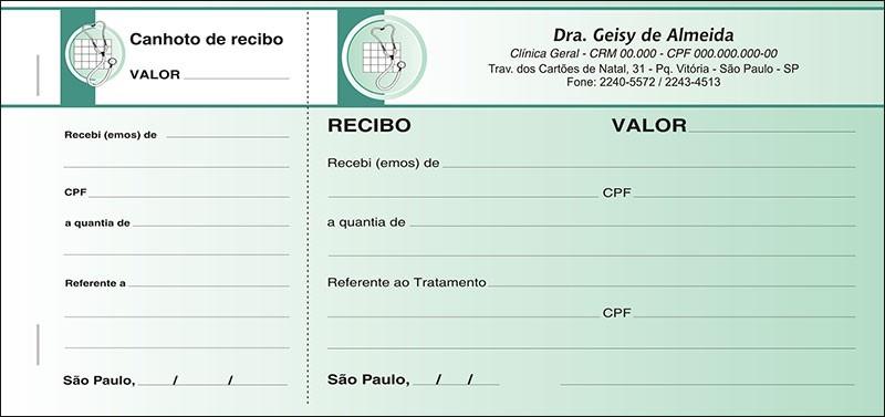 Recibo Médico com Canhoto Colorido - Cod: M015 Verde