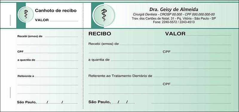 Recibo com Canhoto Colorido - Cod: 015 Verde