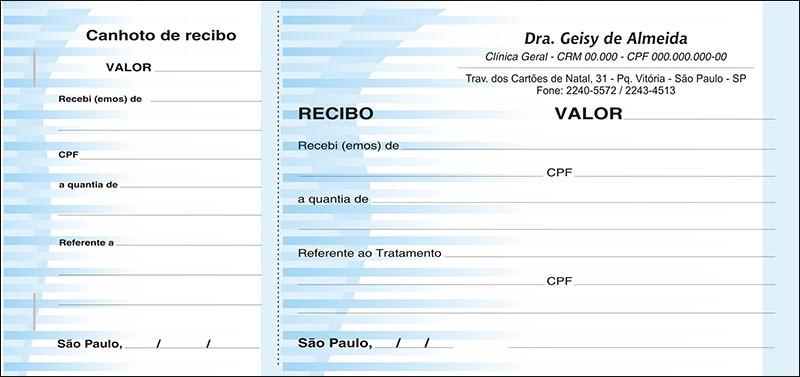 Recibo Médico com Canhoto Colorido - Cod: M018