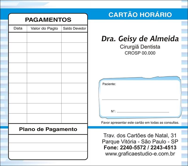 Carteirinha de Próxima Consulta e Pagamento Personalizado - Cod: 018