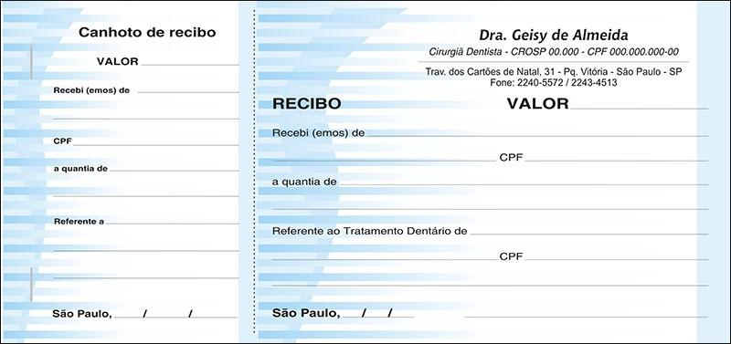 Recibo com Canhoto Colorido - Cod: 018