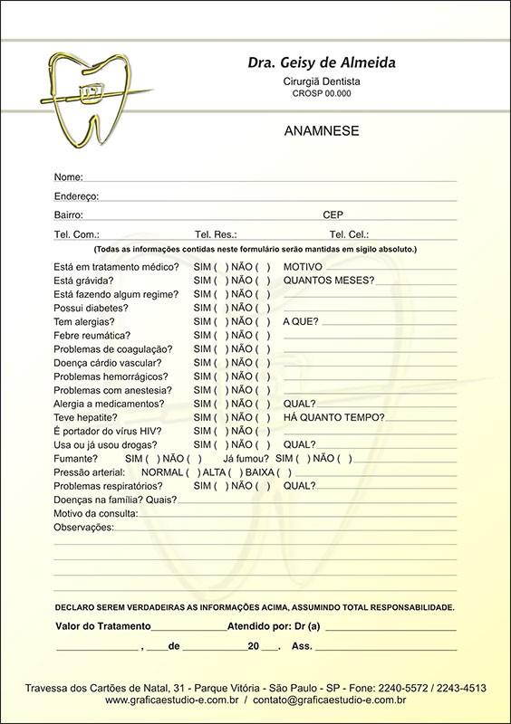 Anamnese Colorida - Cod: 021 Amarelo