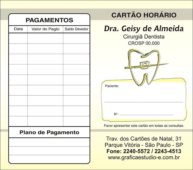 Carteirinha de Próxima Consulta e Pagamento Personalizado - Cod: 021 Amarelo