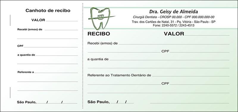 Recibo com Canhoto Colorido - Cod: 021 Verde