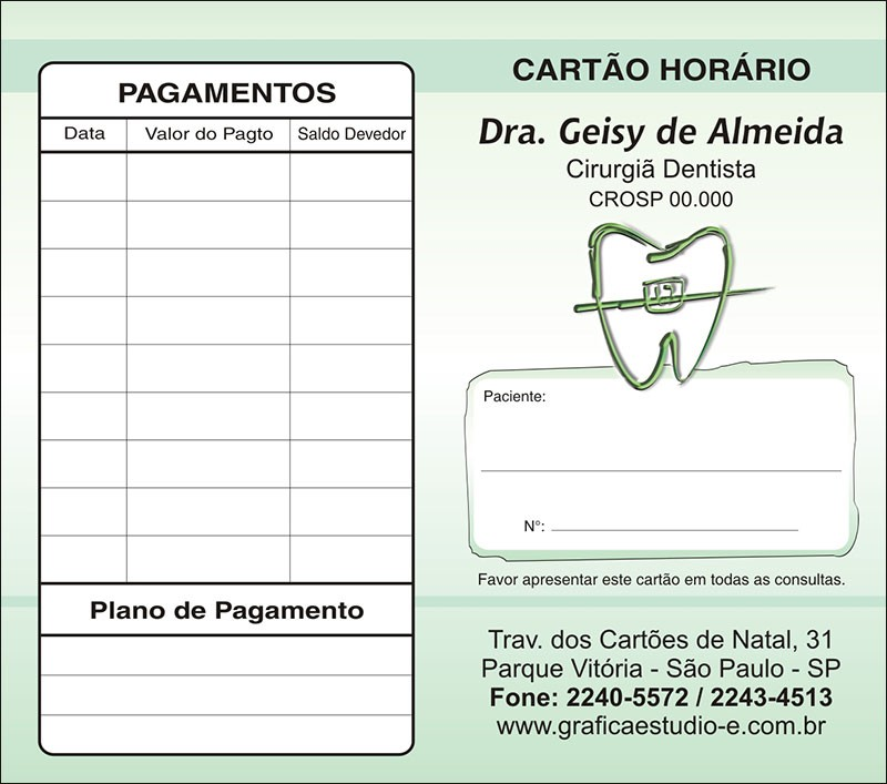 Carteirinha de Próxima Consulta e Pagamento Personalizado - Cod: 021 Verde