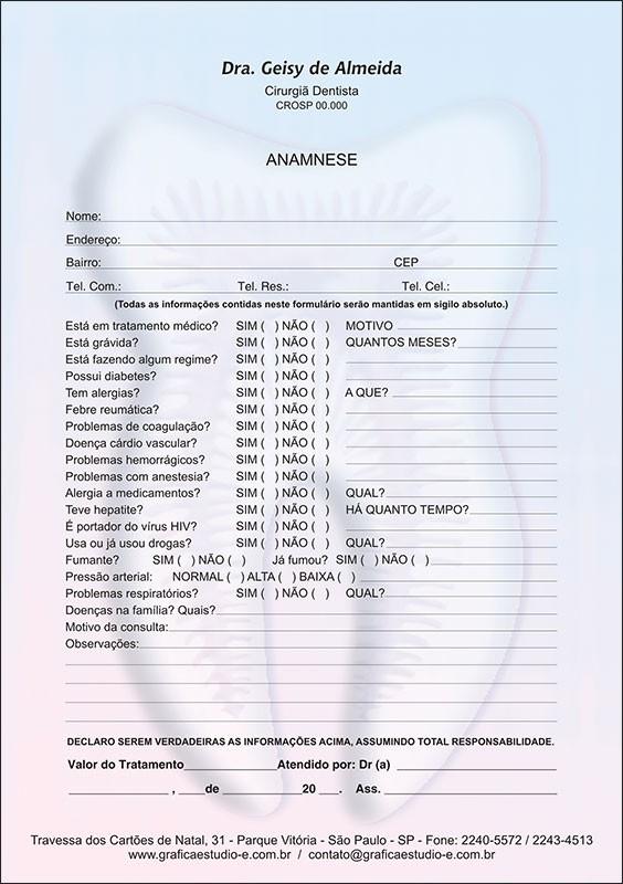 Anamnese Colorida - Cod: 023
