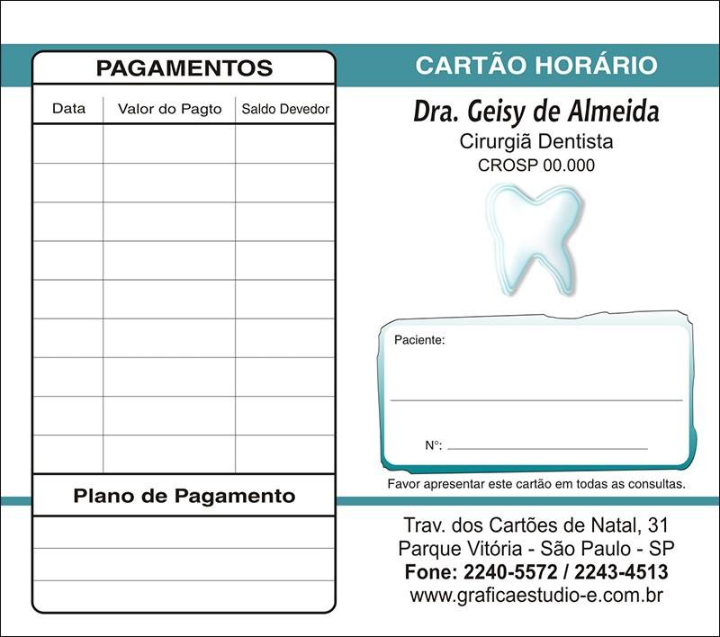 Carteirinha de Próxima Consulta e Pagamento Personalizado - Cod: 028