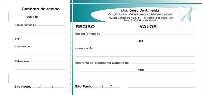 Recibo com Canhoto Colorido - Cod: 028