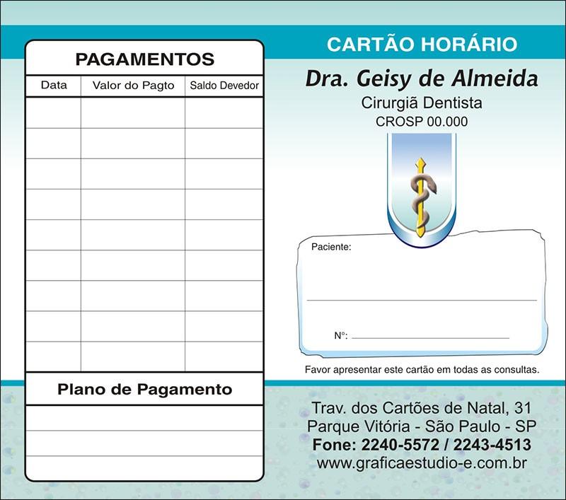Carteirinha de Próxima Consulta e Pagamento Personalizado - Cod: 035