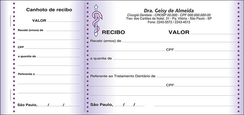 Recibo com Canhoto Colorido - Cod: 040