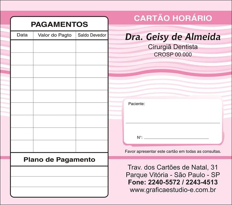 Carteirinha de Próxima Consulta e Pagamento Personalizado - Cod: 042