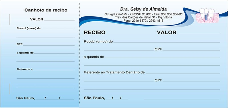 Recibo com Canhoto Colorido - Cod: 043