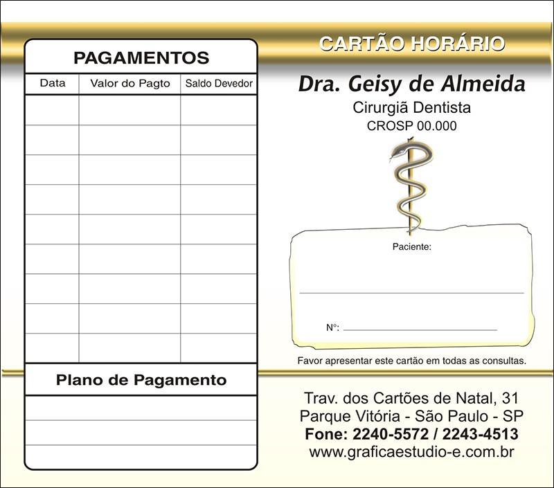 Carteirinha de Próxima Consulta e Pagamento Personalizado - Cod: 049