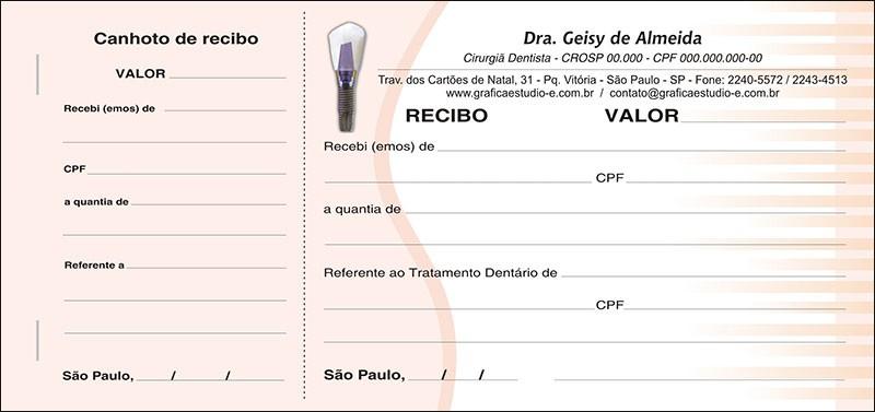Recibo com Canhoto Colorido - Cod: 050