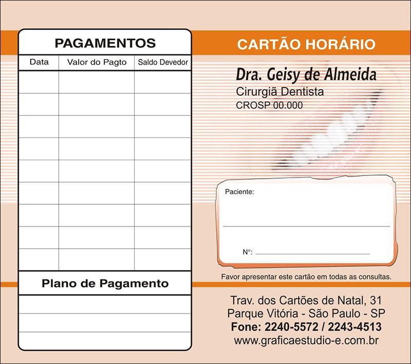 Carteirinha de Próxima Consulta e Pagamento Personalizado - Cod: 056