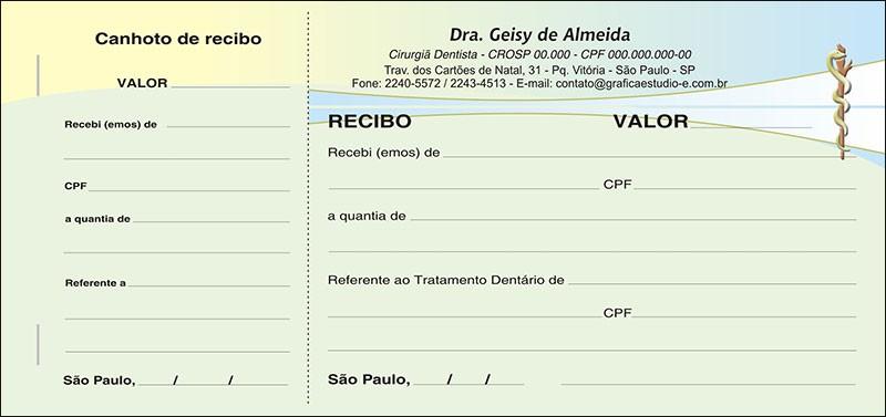 Recibo com Canhoto Colorido - Cod: 062
