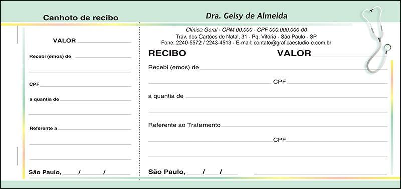 Recibo Médico com Canhoto Colorido - Cod: M102