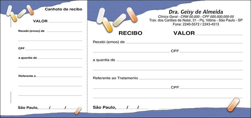 Recibo Médico com Canhoto Colorido - Cod: M105