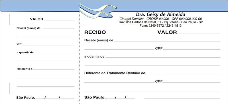Recibo com Canhoto Colorido - Cod: 106