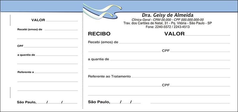 Recibo Médico com Canhoto Colorido - Cod: M106