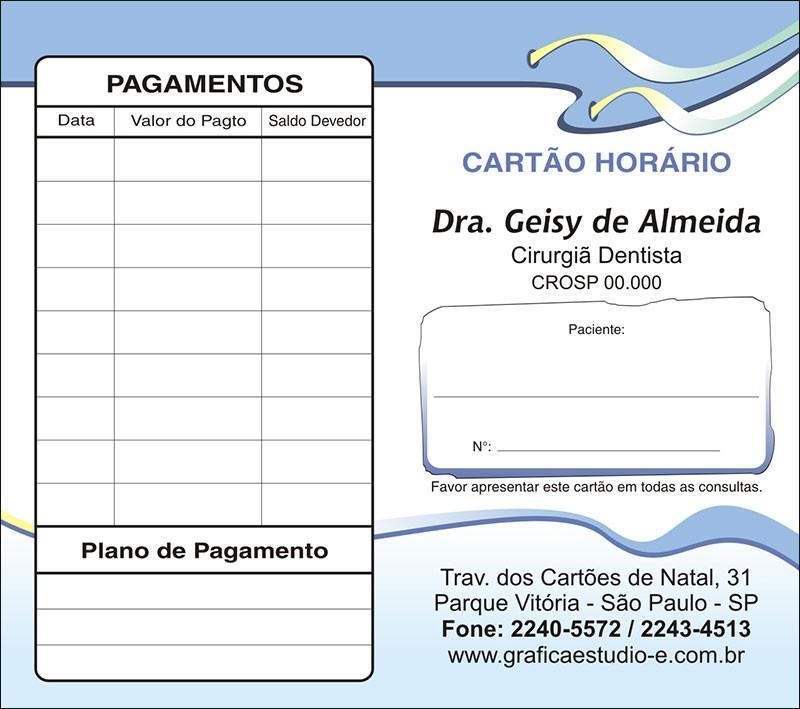 Carteirinha de Próxima Consulta e Pagamento Personalizado - Cod: 106