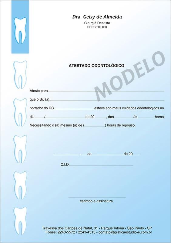 Atestado Odontológico Colorido - Cod: 004 Azul SB