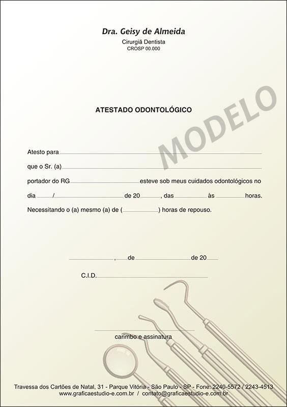 Atestado Odontológico Colorido - Cod: 009
