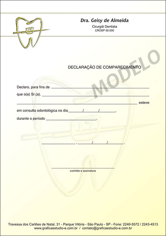 Declaração de Comparecimento Colorida para Dentistas - Cod: 021 Amarelo