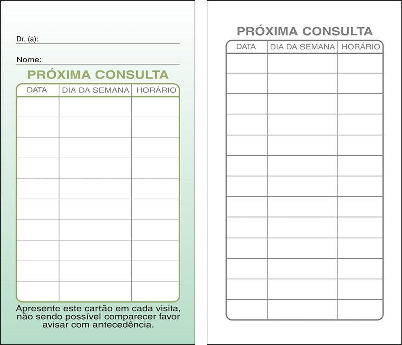 Cartões de Próxima Consulta Verde