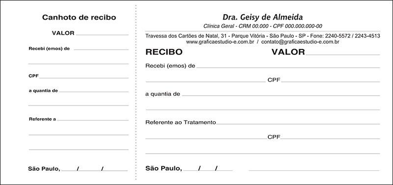 Recibo Médico com Canhoto PB