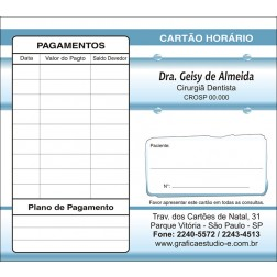 Carteirinha de Próxima Consulta e Pagamento Personalizado - Cod: 047