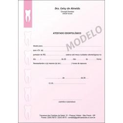 Atestado Odontológico Colorido - Cod: 004 Rosa SB